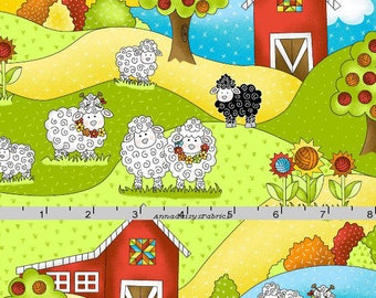 Knitting Sheep Fabric, Farm, Barn & Sheep Quilt Fabric, Henry Glass Knit Happy HEG 1077 10 Stitches of Love, Fabric for Knitters, Cotton