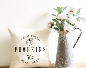 farm fresh pumpkins decorative pillow cover, pumpkin pillow, fall pillow fall decor, autumn decor, thanksgiving decor, farmhouse pillow