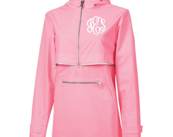 Pink Monogram Rain Pullover, Monogram Rain Jacket, Charles River pullover, New Englander Pullover, Personalized Jacket