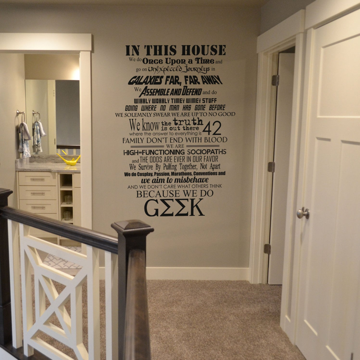 Nice In This House We Do Geek Vinyl Wall Lettering Sticker Decal