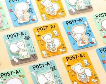 4 Pc Set ~ Cute Kawaii Bear Sticky Notes ~ Animals Memo Pads, Kawaii Sticky Notes, Scrapbooking, Kawaii Stationery Post it, Kawaii Bear
