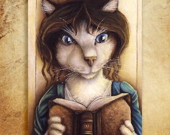 Lizzy Bennet Cat, Pride and Prejudice Cat Art 5x7 Archival Print