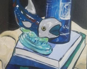 "Original Acrylic Painting ""Whale Still Life"" 16x20"""