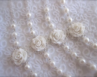 White flower necklace - set of 4 pearls Necklace Bridesmaids necklace Bridal Jewelry Wedding Jewelry floral jewelry bridesmaids gift