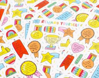 Reward Yourself! - A5 vinyl sticker sheet, die-cut stickers, reward stickers, self-care reward stickers, small gift, planner stickers