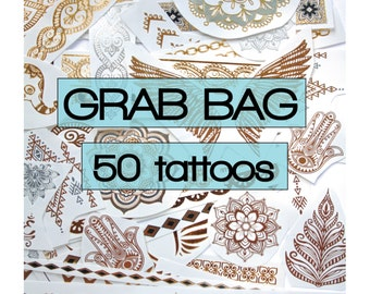 50 pieces of metallic tattoos in gold, silver, turquoise details, party, favours, flash, festivals, grab bag, bachelorette, gifts beach rave