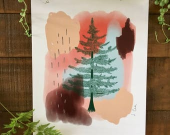 Abstract art print, pine tree, black, plant, watercolor painting, illustrated,  archival,  design