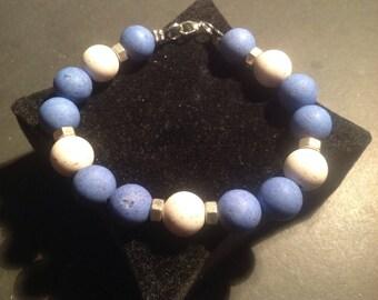 """Bracelet blue white resin """"The dude"""""""