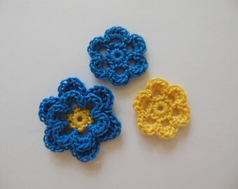 Crocheted Flower Combo - Blue Hawaii and Bright Yellow - Cotton Flowers - Crocheted Flower Appliques - Crocheted Flower Embellishments