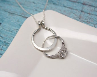Ringsafe etsy sale circle ring holder necklace wedding or engagement ring holder pendant aloadofball Images