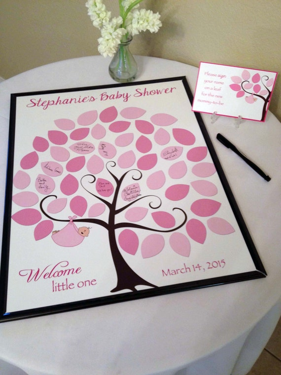 Charming Baby Shower Guest 16x20 Sign In Tree Poster Baby Shower