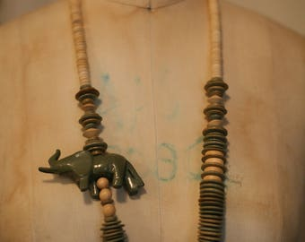 Carved wooden elephant statement necklace