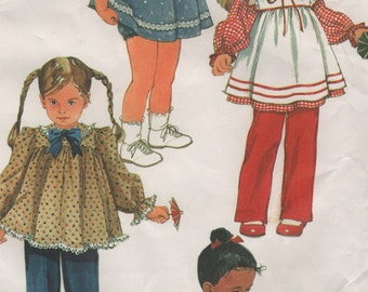 Toddler Dresses, Sundress or Apron, Tops & Bottoms, Childs Size 1/2, 1, 2, Uncut Sewing Pattern, Vintage 1980s