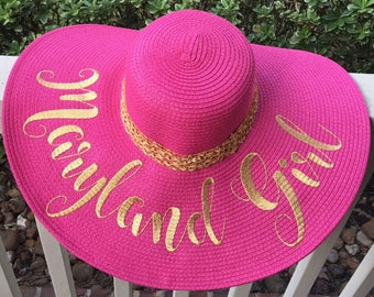 Pink and Gold Floppy Hat - Mermaid or Customize your  Monogram - Beach Hat - Sun Hat - LARGE Floppy Hat - Wedding Gift