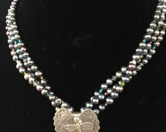 Three-strand Freshwater Pearl Necklace with Hill Tribes Silver Dragonfly Pendant