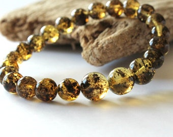 Green amber bracelet, round amber beads, natural baltic amber jewelry, genuine amber, lemon color amber, gemstone bracelet gift 7.7 g.