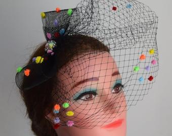 Black Skittles bow fascinator coloured POLKA DOT