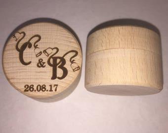 Wedding Ring Box Holder Initials Date Wood