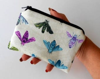 Zipper Coin Purse Little Zipper Pouch Padded Coin Purse ECO Friendly NEW Colorful Bees