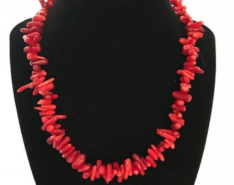 Funky Red Sea coral beaded necklace