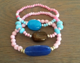 Cute set of 3 bracelets summer bracelets pink bracelets blue bracelets