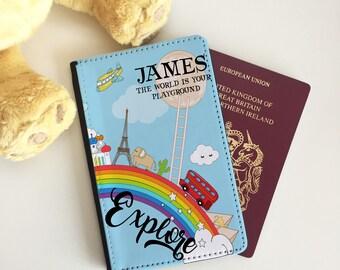 Personalised World Rainbow Passport Cover - Passport Case - Passport Wallet for kids