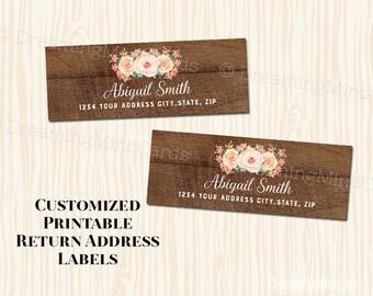 Custom Printable Return Address Labels Peach Pink Watercolor Flowers Vintage Rustic Wood Pattern Digital Wedding Baby Shower