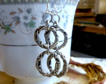 The realms Metal earrings. Freeform Metal double hoop dangle earrings. Boho