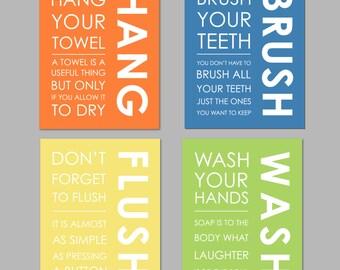 "50% Off Sale Kids Bathroom Art Kids Bathroom Decor Print Art Prints Printable Files Bathroom Decor INSTANT DOWNLOAD 8""x10"" set of four"