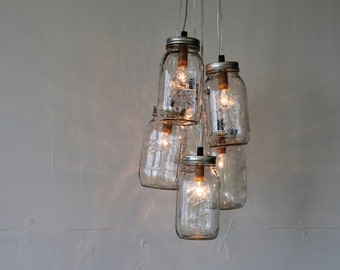 Mason Jar Chandelier, 6 Jar Cluster, BootsNGus Hanging Mason Jar Pendant Lighting Fixture, Bulbs Included