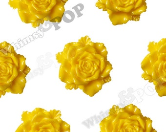 6 - Large Yellow Bloomin' Rose Cabochons, Rose Shaped, 24mm (R6-031)