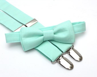 Ring bearer outfit, mint bow tie and suspenders, toddler bow tie and suspenders, bow tie and suspender set, mint wedding, wedding suspenders