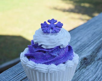 Purple and White Christmas Cupcake (fake)
