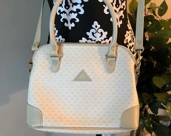 Liz By Liz Claiborne White And Taupe Shoulder Bag Purse - 1980's - Vintage - Crossbody