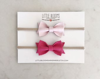 Leather Bow Headband - pick your color