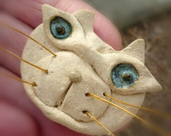 cat pin  beatnik hippie brooch by sugargrovepottery on etsy