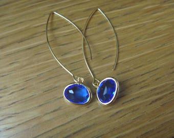 Golden Earrings: Crystal lagoon blue