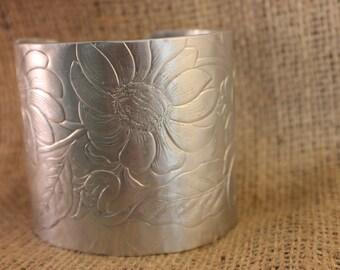 Unique Vintage aluminum Floral Cuff Bracelet