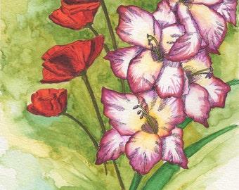 Gladiolus and poppy etsy august birthday card gladiolus poppy greeting card watercolor blank inside all mightylinksfo