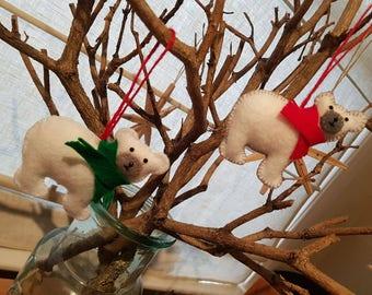 Handmade felt Polar Bear Christmas decoration