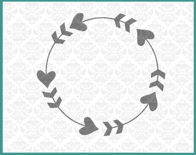 CLN051 Heart Arrow Monogram Words Family Home Love Circle SVG DXF EPS vector instant download commercial use cutting file cricut silhouette