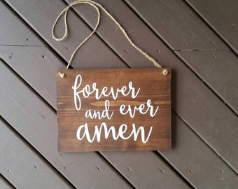 Forever and Ever Amen Wood Sign, Wood Signs, Wedding Signs, Wedding Decor, Flower Girl Signs, Ring Bearer Signs, Wedding Ceremony Decor