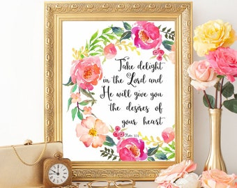 Bible verse Psalm 37:4 Bible verse wall art print Christian art Printable Scripture wall art Christian wall decor Take delight in the Lord