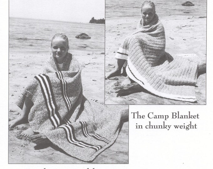 eweCanknit pattern 168: Cottage & Campp Afghans knitting patterns for 2 afghans 1 worsted and 1 bulky weight