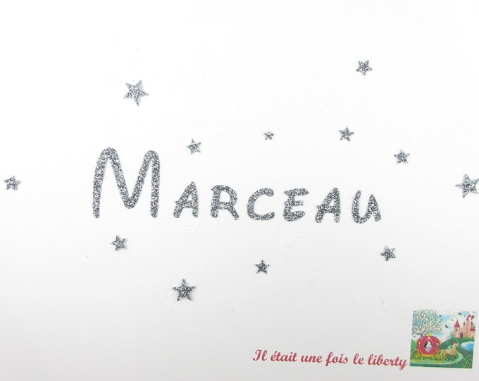 Applied fusible customizable glitter name 7 letters (example Marceau) glitter fabric (colors)