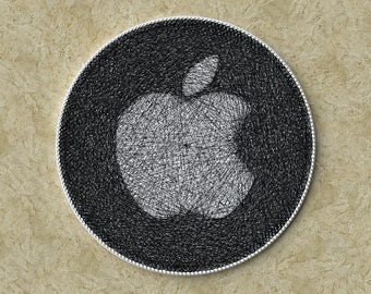 Logo for your company, Apple logo, Company decorations, Wall Art, Picture of thread, Wall decor, String art, Boss, Gift