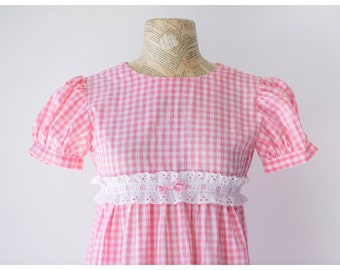 Pink and White Gingham Babydoll Maxi Dress - Vintage 1960's Girly Maxi - Kawaii Dress with Ruffles and Bows - Size Small