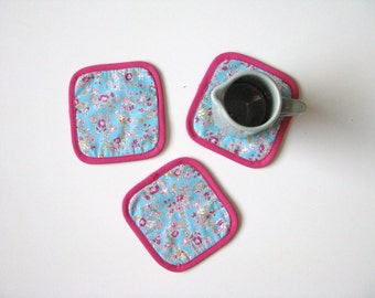 floral mug rugs - aqua and pink floral coasters, set of 3x, hostess gift, cottage chic floral mug rugs, mothersday gift, teaparty hostess