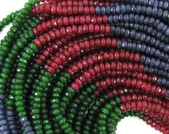 """4mm faceted multicolor jade rondelle beads 8"""" strand 32048"""