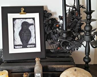 Mixed Media Collage Fine Art Print - Raven Painting - Minimalist Art - Black Bird Painting - Goth Wall Art - Gothic Home Decor